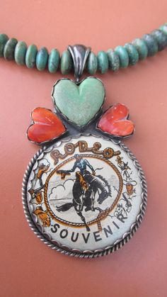 ❥ Rodeo Souvenir Tin Lithohgraph HandCarved Turquoise by RistraRanch