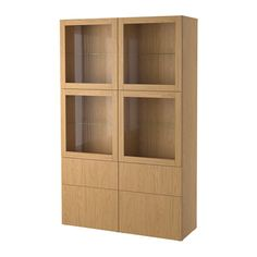 IKEA - BESTÅ, Storage combination w glass doors, Lappviken/Sindvik oak effect clear glass, , The drawer and doors close silently and softly, thanks to the integrated soft-closing function.Glass doors keep your items free from dust but still visible.Adjustable shelves, so you can customise your storage as needed.