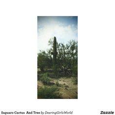 Saguaro Cactus  And Tree Canvas Print