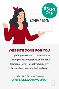 [SPECIAL DEAL] Ready to rock the web with a client-winning website created by a pro but for less money? Check out this special deal today and have your website launched in no time. #websitelaunch #diywebsite #wordpress #WebWeek #WebsiteInWeek #buildwebsite #WebDesign #WebMentor #CourseCcreator #LadyBoss #websitedoneforyou #wd4u #anitam.com