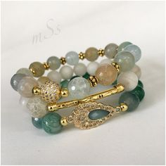 Gemstone Bracelets Green Agate White Quartz Stretch by mSsDdesigns  #bracelet #jewelry #fashion #style