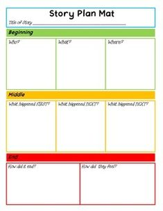 Free: Story Plan Mat with Who and Where picture cards
