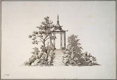 Design of a Chinese Pavilion with a Spiral Top, on a Rock - Jury Matveyevich Velten Ink In Water, Hermitage Museum, Chinoiserie, Pavilion, Art Reference, Concept Art, Chinese, Spiral, Rock