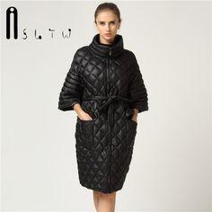 New Arrivals Women Autumn Winter Parkas Slyn Waist Long Coat Fashion Plus  Size Leisure Coat Bat Sleeve Pearl Cotton Ladies Coats 004491867dc5