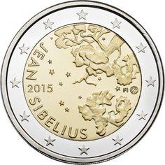 Pièce de 2 Euros commémorative de Finlande 2015 commémore le 150ème anniversaire de la naissance du compositeur Jean Sibelius. Estimation 5 Euros environ ( ex: 1 000 000 )