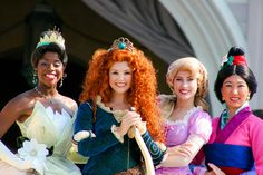 Tiana, Merida, Rapunzel and Mulan