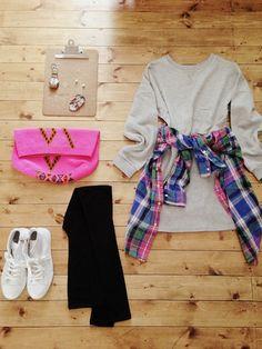 アクセサリー/atelier bloom コットンパール10mm新作ピアス 淡水パールちょうちょネックレス  ワンピース/Dholic シャツ/Ralph Lauren(used) スパッツ/Dholic bag/sophie anderson shoes/nano・universe  #TeeDress #PlaidShirt #Spring #Style #Fashion
