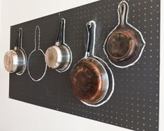 Outline kitchen pots on a pegboard for easy organization.   @Design*Sponge Photo by http://shootjoec.com/