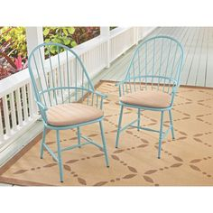 Martha Stewart Living Blue Hill Blue Aluminum Outdoor Dining Chairs With  Beige/Tan Cushions (2 Pack)