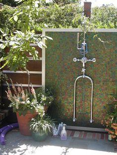 glass mosaic outdoor shower