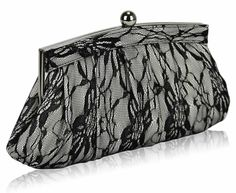 evening bags: Lace Floral Pleated Evening Clutch Bag x with PreciousBags Dust Bag Black Clutch Bags, Black Bags, Bridal Clutch Bag, Rockabilly Wedding, Wedding Bag, Black Crystals, Evening Bags, White Lace