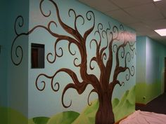 Home Decoration. Great Hallway With Painting A Tree Mural Wall Decoration Ideas . Inspiring And Decorative Wall Decoration With Painting A T...