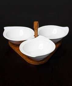 Look what I found on #zulily! Micro World Four-Piece Bamboo & Porcelain Dipping Set by Micro World #zulilyfinds
