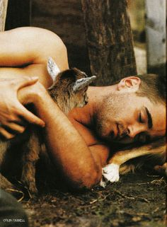 My two greatest weaknesses: Cute men and cute animals. Colin Farrell