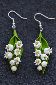 Lily of the valley earrings - polymer clay handmade pendant: