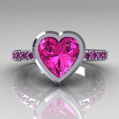 Elegant and classy, the new Classic Bridal 14K White Gold 2.10 Carat Heart Pink Sapphire Ring R314-14WGPS evokes absolute glamour and style, is sure to please the most discriminating feminine taste. * Classic Bridal 14K White Gold 2.10 Carat Heart Pink Sapphire Ring R314-14WGPS
