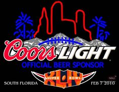 Coors Light Super Bowl Xliv Official Sponsor Neon Beer Sign And Light,Affordable and durable,Made in USA,if you want to get it ,please click the visit button or go to my website,you can get everything neon from us. based in CA USA, free shipping and 1 year warranty , 24/7 service