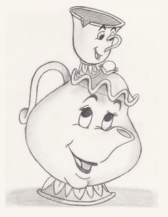 Chip and Mrs.Potts drawing in pencil