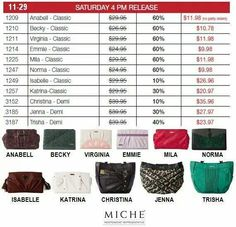 Get them while they last!!!!! You gotta be quick!!!!!!!!The next 3 pics are the Saturday 9 am releases and the 4 pm releases. Look for the November party to add your order to and be entered in a raffle for a free gift.   https://sandrasgotmy.miche.com