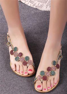 Amazing Shining Flat Sandals with Rhinestone Flower
