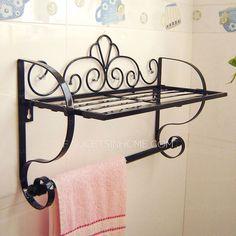 Black Rustic Wrought Iron Bathroom Shelves Hotel Towel Bars