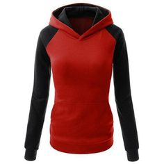 Yoins Yoins Red Hoodie ($16) ❤ liked on Polyvore featuring tops, hoodies, red, shirts & tops, shirt hoodie, color block top, colorblock shirt, hooded sweatshirt and colorblock top