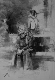 Draw Charcoal charcoal drawing by Ehsan Maleki Easy Charcoal Drawings, Charcoal Sketch, Love Drawings, Easy Drawings, Pencil Drawings, Sketches Of People, Drawing People, Illustration Sketches, Drawing Sketches