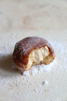 Salted Caramel Brioche Doughnuts - Soft pillowy Brioche Doughnuts filled with Salted Caramel Pastry Cream folded with softly whipped Cream.