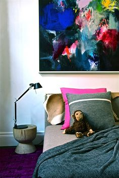 jewel tones, gray, bedroom by okologi