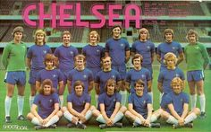 Team photo for the season. I saw them draw with Stoke in October 1974 and lost to Leeds Utd in Jan Intrepid teenager at 14 travelling to London from the IoW. Chelsea went down! Chelsea Fc Team, Chelsea Football, Football Team, Team Pictures, Team Photos, Stamford Bridge, First Game, Cool Photos, Interesting Photos