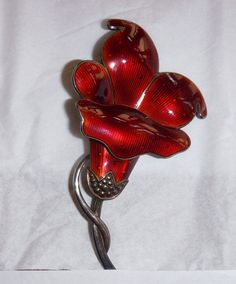 """This beautiful vintage flower brooch is made of sterling silver and enamel. It is signed """"ASch. 925s"""" in script . Signature in script as described at 925-1000.com. for Albert Scharning of Norway. Flower Brooch, Brooch Pin, Enamel Jewelry, Silver Jewelry, Vintage Flowers, Norway, Charity, Scandinavian, Jewels"""