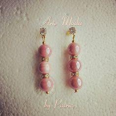 Collezione Patrice creation: modello Lady...con pietre in ceramica color rosa r e con dettagli simil swarovski...#artemoda#creation#earrings#bijoux#bijouxfattiamano#handmade#handmadefattiamano#designer#style#colors#pink#rosa#