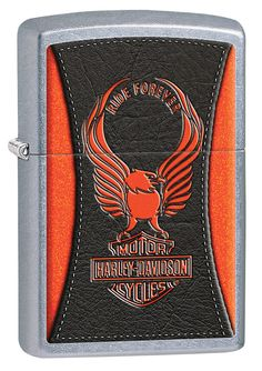 The Harley-Davidson classic Eagle sits atop the Bar model gives the effect of a leather texture over an orange background. For optimal performance, fill with Zippo premium lighter fluid. Comes package Zippo Harley Davidson, Harley Davidson Street, Cool Lighters, Bar Model, Color Naranja, Pocket Light, Light My Fire, Colour Images, Colors