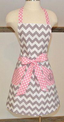 Gray Chevron with Pink and White Polka Dot Trim Retro by LizzysBiz