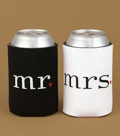 Mr. & Mrs. Can Coolers (Hortense B Hewitt 83902) | Buy at Wedding Favors Unlimited (http://www.weddingfavorsunlimited.com/mr_mrs_can_coolers.html).