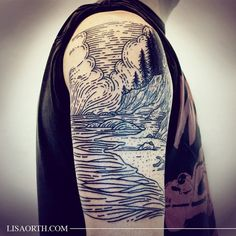 Scene from one of his favorite places in the northwest, Smuggler's Cove, for Matt. Thanks for coming all the way from Washington DC and trusting me to do your first tattoo.  Artwork and photo © 2015 Lisa Orth.