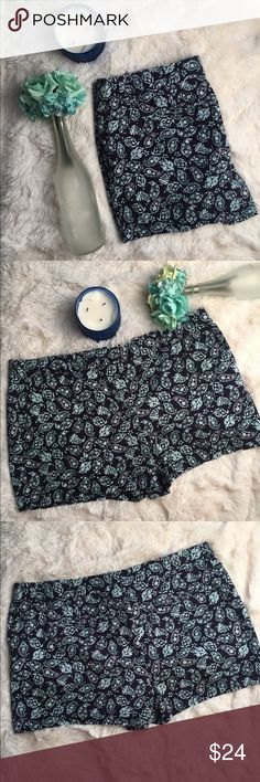 Ann Taylor Loft Turquoise Paisley Shorts Great condition; only worn once. Has front pockets and belt loops. 100% cotton. *Flowers and Candle Not Included* LOFT Shorts