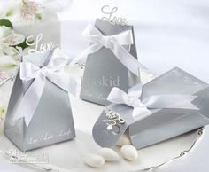 Wholesale Gift Boxes - Buy Elegant Silver Live Laugh Love Candy Box with White Satin Bow Wedding Favor New, $0.33   DHgate