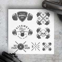 Vintage gym logos & design elements by 1baranov on @creativemarket