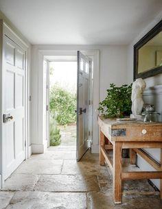 An eighteenth-century weavers' cottage lovingly restored Entrance hall - love the flagstone flooring Hallway Ideas Entrance Narrow, House Entrance, Modern Hallway, Modern Staircase, Small Entrance Halls, Spiral Staircases, Entryway Ideas, Entry Hall, Staircase Design