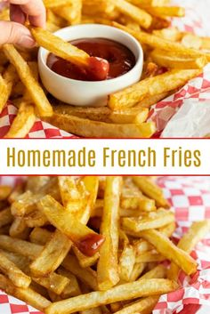 will think you're eating at a restaurant when you taste these extra crispy, golden homemade french fries! Add a sprinkle of salt and a side of ketchup and you're family will be in french fry heaven! Deep Fried French Fries, Cooking French Fries, Best French Fries, French Fries Recipe, Recipe For Homemade French Fries, French Fries Fryer, Perfect French Fries, Ketchup, French Fry Heaven