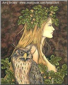 """Blodeuwedd is known as the Welsh Virgin Goddess of Spring, or """"Flowerface,"""" and there are many who believe that she was just as deadly as she was beautiful. She was known, as well, as """"The Ninefold Goddess of the Western Isles of Paradise,"""" and her totem was the owl, a bird of wisdom and lunar mysteries.    Blodeuwedd takes on the role of the Maiden, in the traditional Welsh Triple Goddess trinity, in which Arianrhod is the Mother, and Cerridwen the Crone. She has also been ..."""
