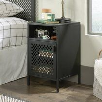 Boulevard Cafe Night Stand in Black - Sauder 423268 423268 Features: Powder coated metal construction for durabilityFinished on all sides for versatile placement anywhere in your homeBlack finish Finish: SGS Non-wood Finish Approximate Dimensions: x x Metal Nightstand, Bedside, Bedroom Night Stands, New Room, Storage Spaces, Modern, Furniture, Bedroom Ideas For Teen Boys, Teenage Boy Rooms