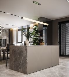 Residential interior with natural materials on Behance Kitchen Room Design, Luxury Kitchen Design, Kitchen Interior, Küchen Design, Layout Design, House Design, Gold Interior, Modern Interior, Casa Milano