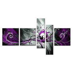 Abstract Purple Oil Painting 805 - 64 x 32in