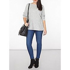 Dorothy Perkins - Curve grey slouch ribbed jumper
