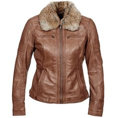 Lorsqu'un col en fourrure véritable rencontre une veste en cuir à la coupe classique, le résultat est tout simplement saisissant ! Cette création Oakwood est parée à vous accompagner durant toute la saison, pour vous tenir chaud en restant tendance. - Couleur : Marron - Vêtements Femme 299,00 €