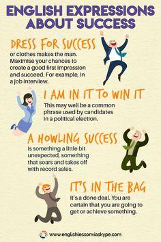 English Expressions about Success & English Phrases Connected with Success English Vinglish, English Idioms, English Vocabulary Words, English Phrases, Learn English Words, English Study, English Lessons, English Grammar, English Tips