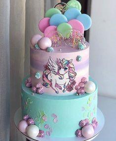 Girls First Birthday Cake, 7th Birthday Cakes, Baby Cakes, Chocolate Button Cake, Bolo My Little Pony, Fondant Cakes, Cupcake Cakes, Diy Unicorn Cake, Hand Painted Cakes