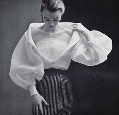 """876 Likes, 15 Comments - giampiero_arcese - Milano (@divina_ispirazione) on Instagram: """"Sophie Malgat in white organdy blouse by Givenchy. Photo by Philippe Pottier, 1952"""""""